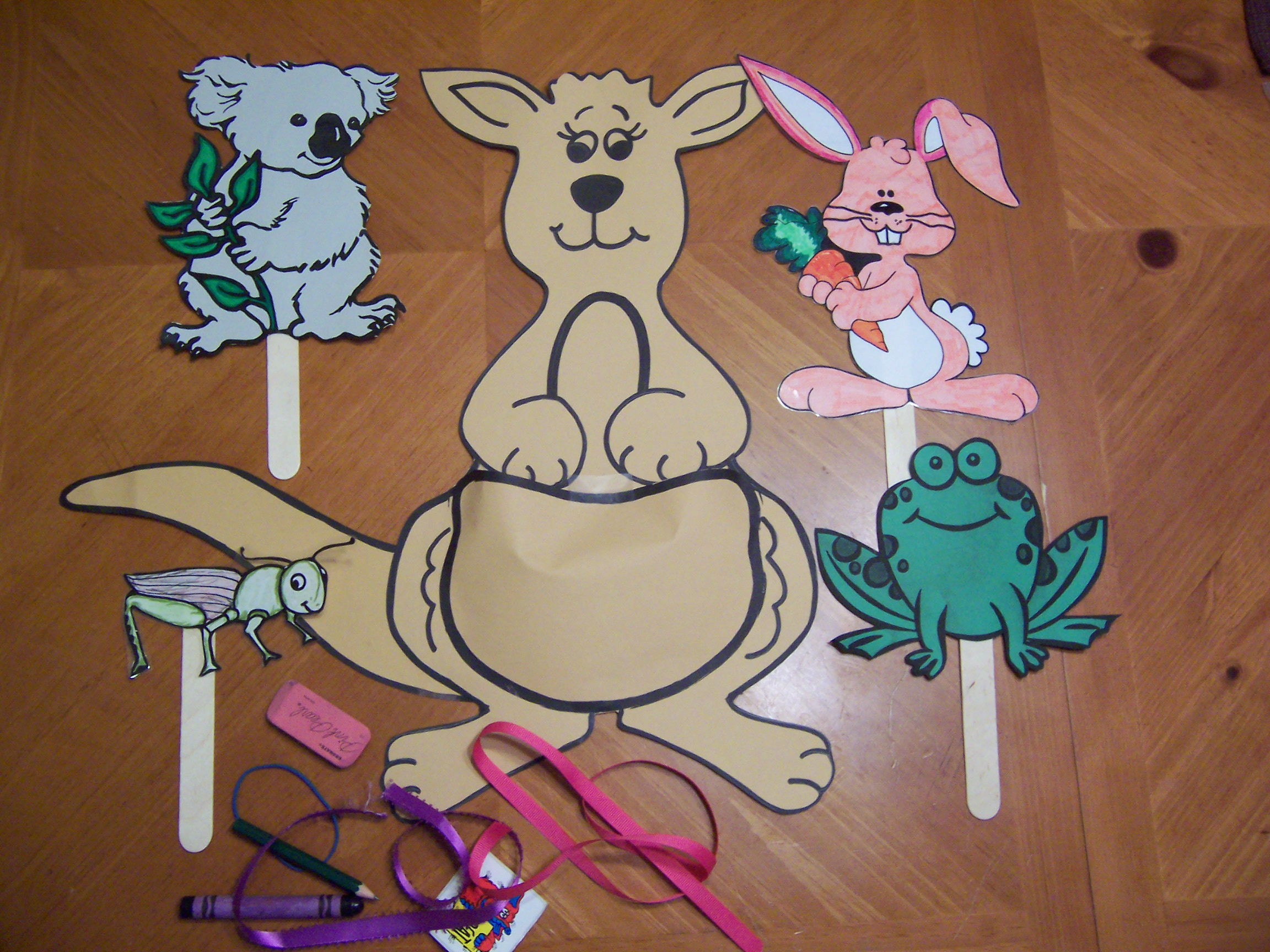 kangaroo puppet template - the storytime lady recipes for reading
